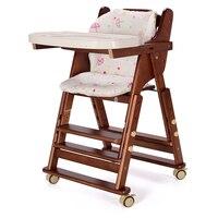 Складной стул для кормления ребенка с регулируемой высотой сиденья, сосновый детский стульчик с регулируемой пластиной, не нужно собрать д