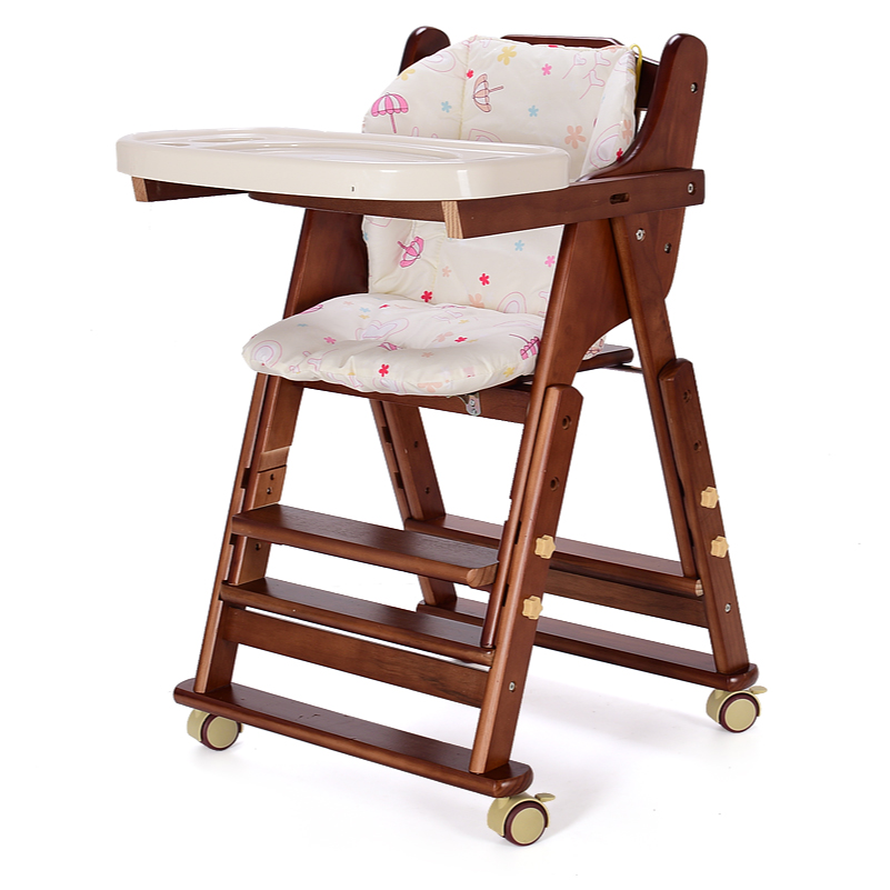 Foldable Baby Feed Chair With Adjustable Seat Height, Pine Baby Highchair With Adjust Plate, No Need To Assemble Baby Chair