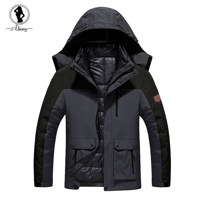 2017 new Winter jacket men black Down jacket Cotton Plus velvet warm wind parka hooded winter