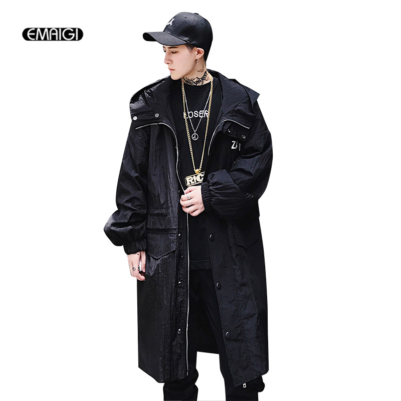 Men Women Long Casual Hooded Trench Coat High Street Fashion Printing Hip Hop Loose Windbreaker Jacket Male Outerwear