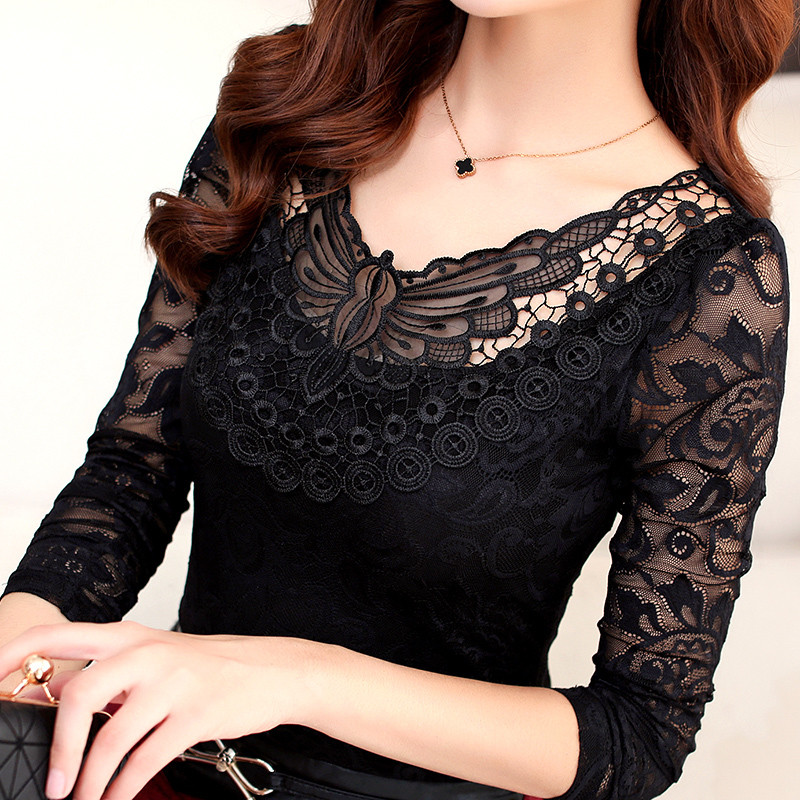Hollow Out Lace Blouse 2018 Elegant Shirt Ladies Tops M-4XL Crochet Long Sleeve Embroidery Patchwork Women Blouses Tops DF1296