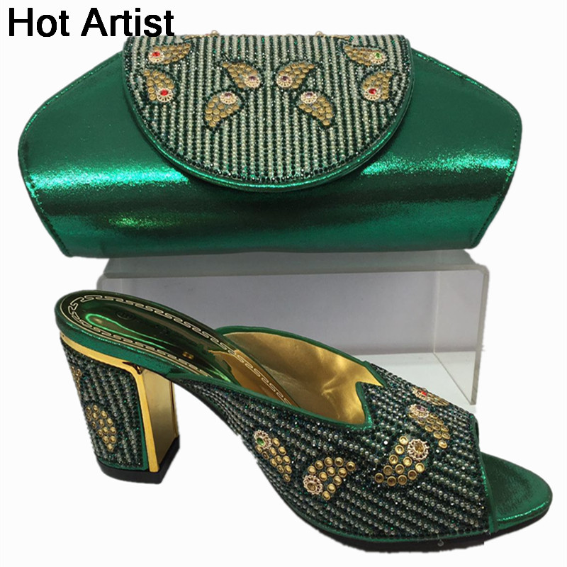 New African Fashion Ladies Shoes And Bag Set Summer Style Woman High Heels Shoes And Bag Set For Party Free Shipping BL515C