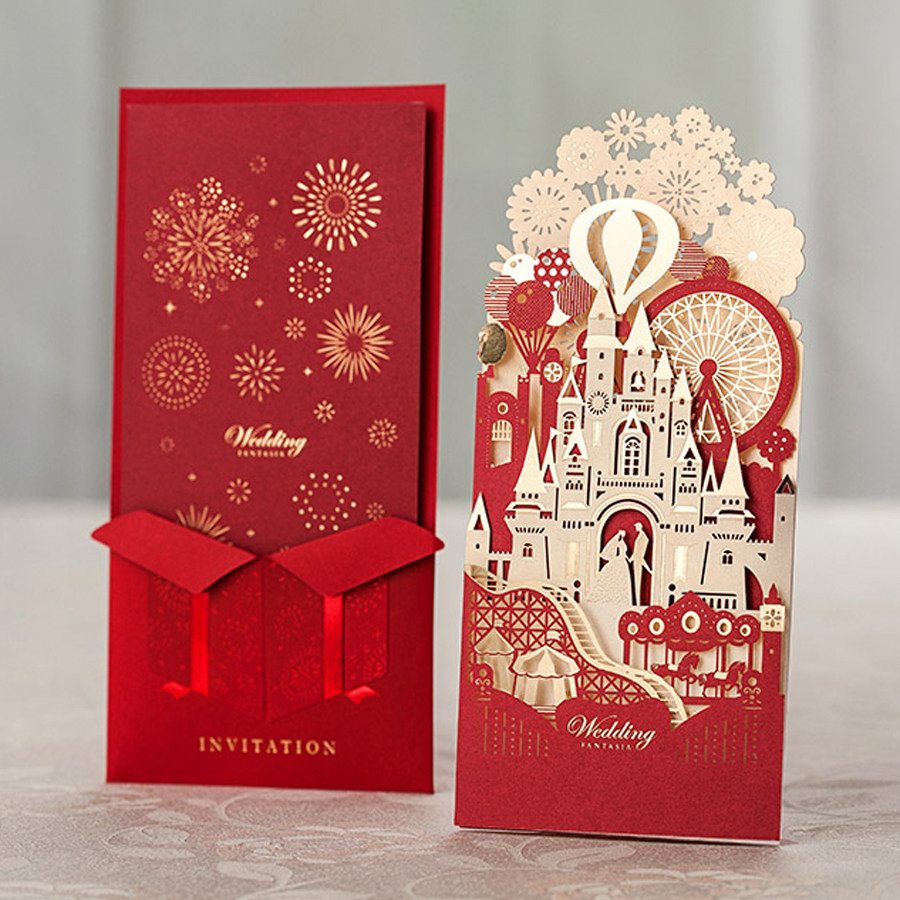 100Pcs Red Paper Greeting Card 3D Pop Up Cards European Laser ...