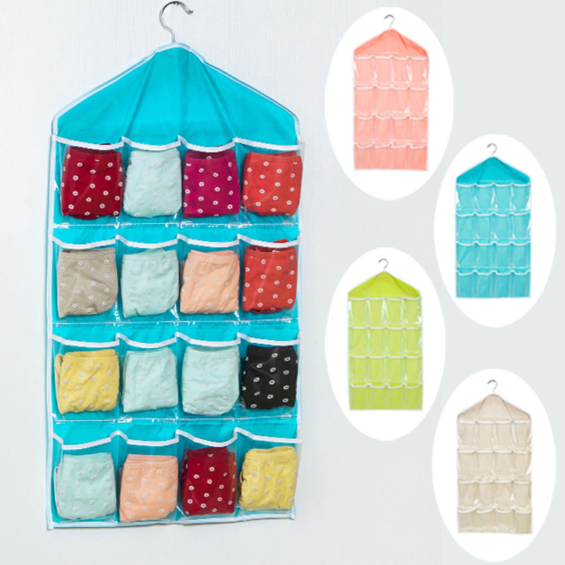 16 Pockets Foldable Wardrobe Hanging Bags Socks Briefs Organizer