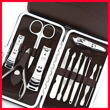 Stainless steel 12pcs Nail Art Manicure Set Nail Care Tools Finger Nail Cutter Clipper File Scissor Tweezers