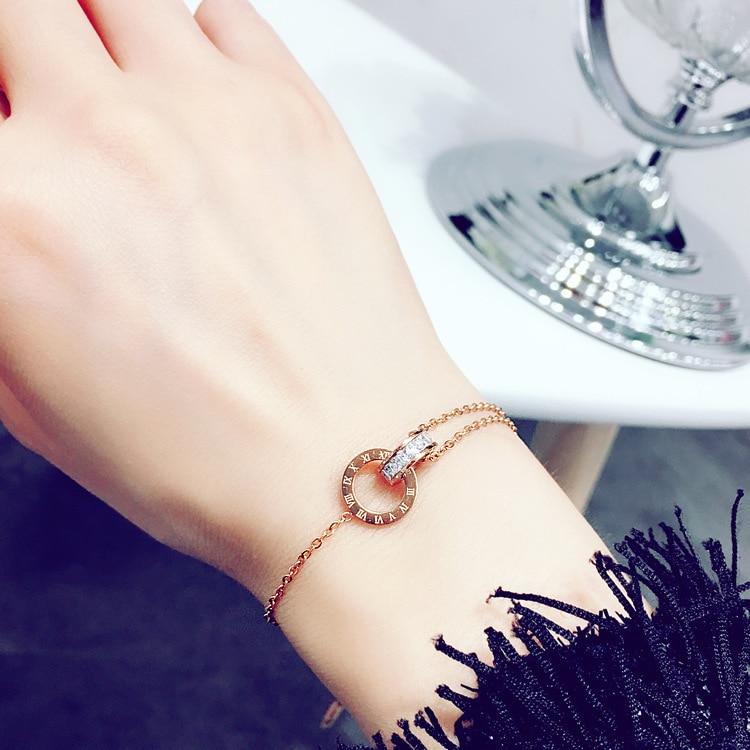 2019 Heißer Mode Persönlichkeit Wald Zubehör Kristall Von Swarovski Einfache Titanium Stahl Römische Ziffer Armband