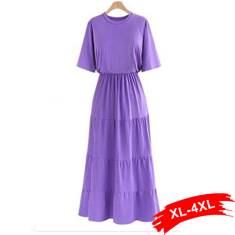 Plus Size Spliced Wasp-Waisted Solid Decoration Women A-Line Dress XXXL 4Xl  Summer O-Neck Casual Dress