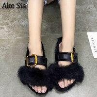 Ake Sia Luxurious Vogue Casual Women Winter Fashion Cotton Slipper Short Plush All Match Straped Buckle