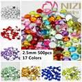 Rhinestones de acrílico Flatback Redondo Facetas Planas Muchos Colores 2.5mm 500 unids Artesanías Pegamento En Diamantes DIY 3D Nails Art decoraciones