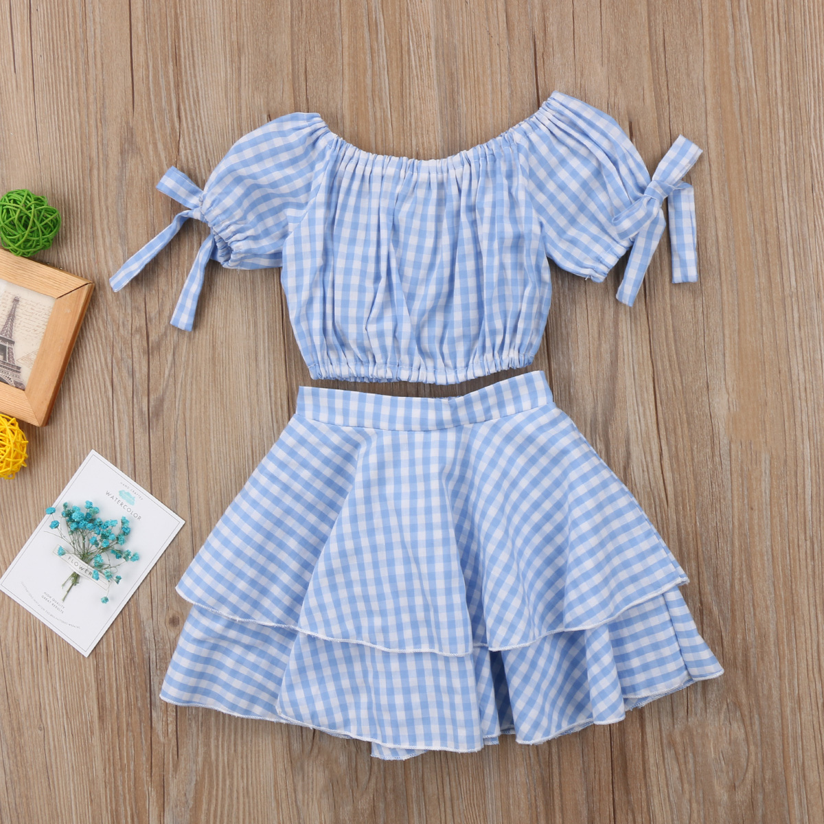 1846caba8e826 Aliexpress.com   Buy Sell Kids Baby Girl Plaid Off Shoulder Crop Top ...