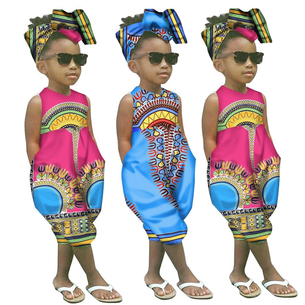 Bandeau 2pcs Mounter B/éb/é Fille V/êtements Imprim/é Africain sans Manches Combinaison Barboteuse