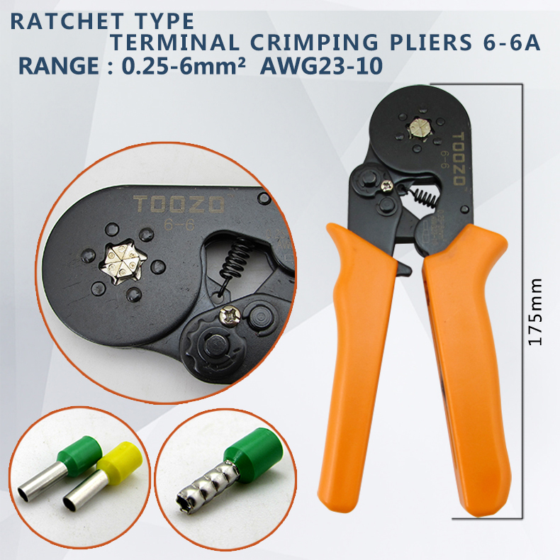 HSC8 6-6 0.25-6mm 23-10AWG,10S 0.25-10mm 23-7AWG terminal crimping Plier crimp Plier tool tube terminals crimper tool awg22 10 insulated closed terminals cap ferrules plier ratcheting crimper tool double crimp