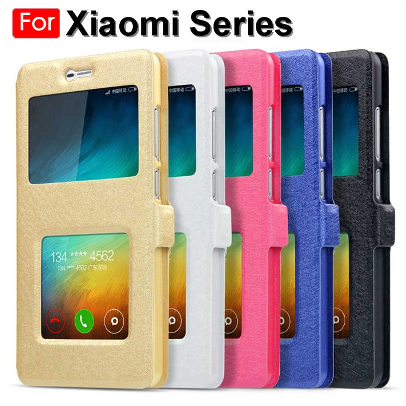 Luxury Front View Window Leather Flip Case For Xiaomi F1 Mi 8 9 A1 A2 Lite Redmi 5 Plus 6 Pro 4A 4X 5A Note 5 6 7 Coque Cover
