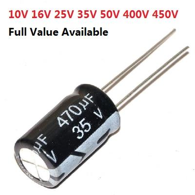 20 шт., алюминиевый электролитический конденсатор 35 в 470 мкФ 4 в 10 в 16 в 25 в 35 в 100 мкФ 220 мкФ 330 мкФ 470 мкФ 680 мкФ 1000 мкФ 47 мкФ 1500 мкФ 10 мкФ 22 мкФ