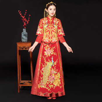 Royal Bride Wedding Evening Party Dress Vintage Hanfu Clothes Cheongsam Embroidery Peacock Qipao Classic Red Marriage Suit
