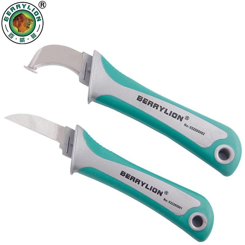 Cuchillo pelador de alambre de BERRYLION pelador cuchillo electricista gancho de patente hoja fija para herramientas manuales de electricista