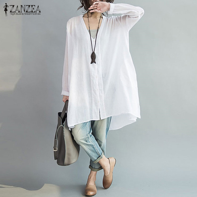 e896355e9c7 M-5XL ZANZEA Women Autumn Linen V Neck Long Sleeve Buttons Irregular Split  Loose Blouse Casual Tops Shirt Blusas Plus Size 2017