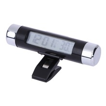 Blue Back Light Digital Car Clock Thermometer with Calendar LCD Display Air-Condition Vent Araba Saat for Automobiles