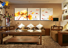 hot deal buy hand-painted group oil painting picture print on canvas 3 panel wall art painting golden lotus