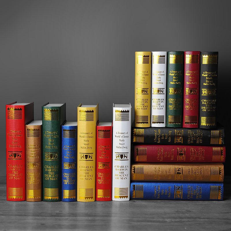 Old Time European Decorative Ornaments Darwin Book Photography Study Simulation Fake Bookcase Props Mode Box In Figurines Miniatures From