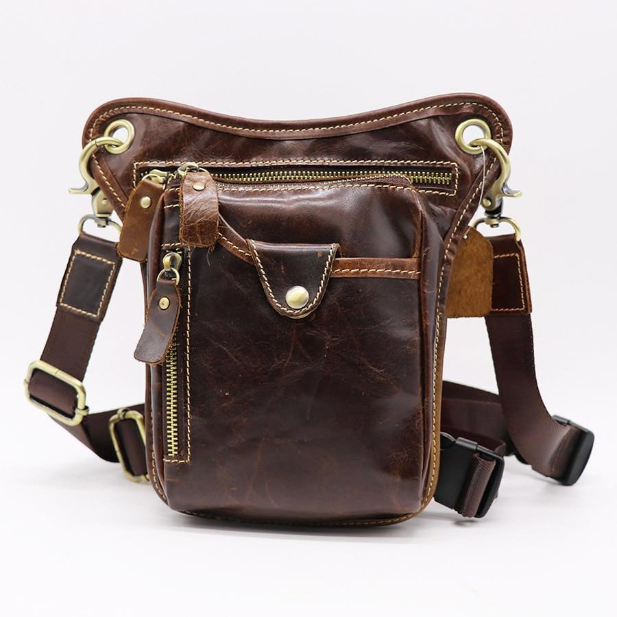 Vintage valódi bőr táska férfi válltáska láb csomag derék Fanny táska eszköz készlet cipzár szervező táskák