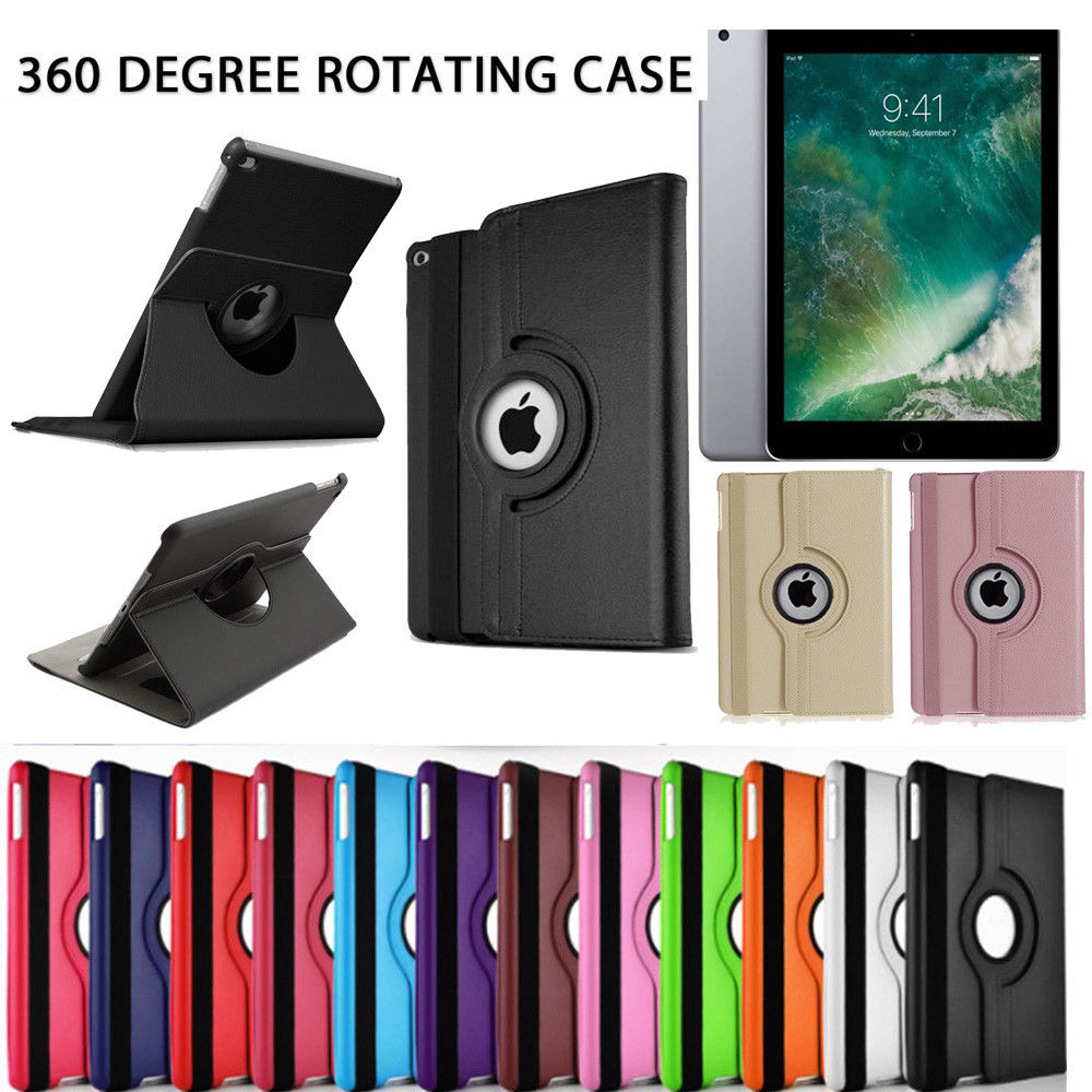 360 Degree Rotating Stand Leather Shockproof Protective Skin Cover Tab Case For Apple iPad 2017 9