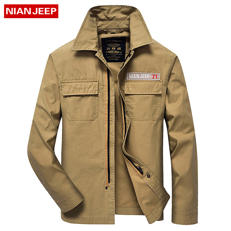 Nian jeep brand clothing military style men 39 s long sleeve for Mens military style long sleeve shirts