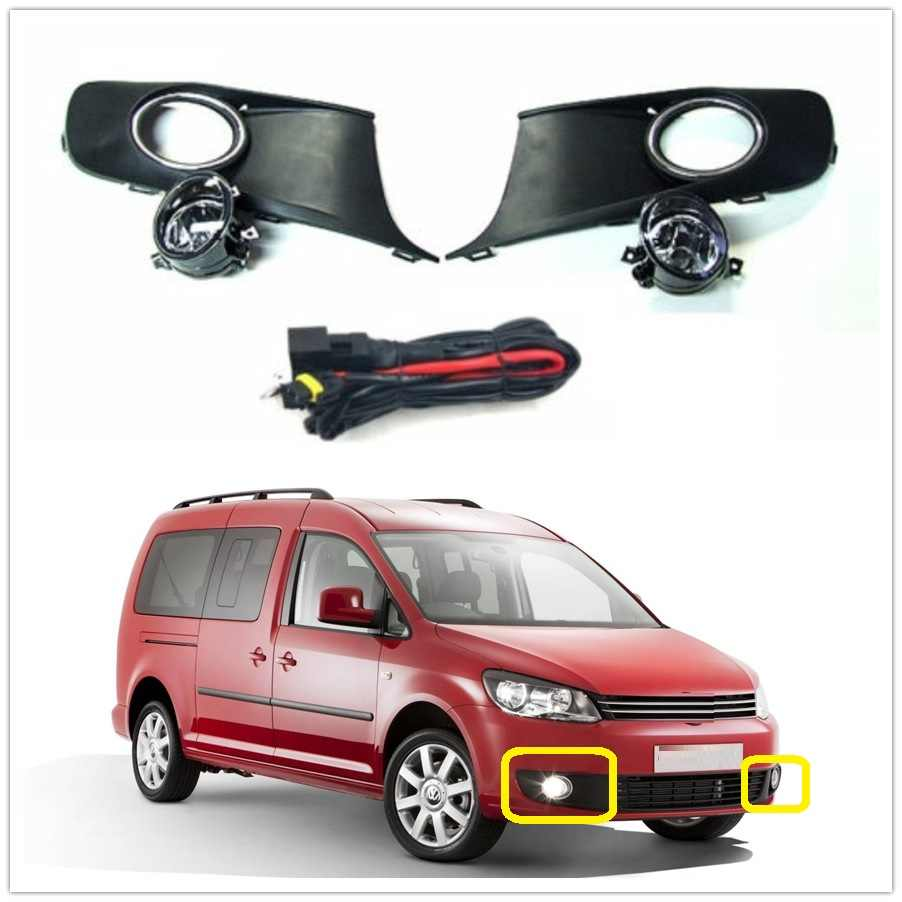 LED Light Untuk VW Caddy 2 K Facelift 2011 2012 2013 2014 2015 Styling Mobil LED Fog Lamp Cahaya + Grille Penutup + Kawat Harness perakitan