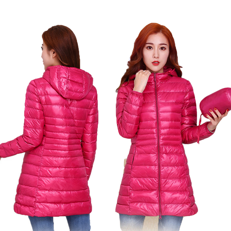 2018 New Autumn Winter Plus Size S-7XL   Down     Coat   Women Ultra Light White Duck   Down   Jackets Hoode Windproof Female Outwears Mw520