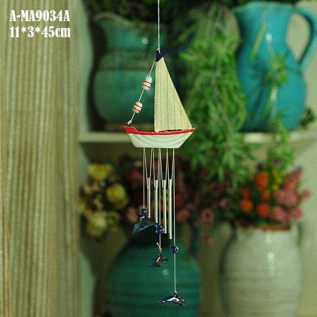 Sailing Ship Wind Chime Mediterranean Wooden Door Bell Hanging ...