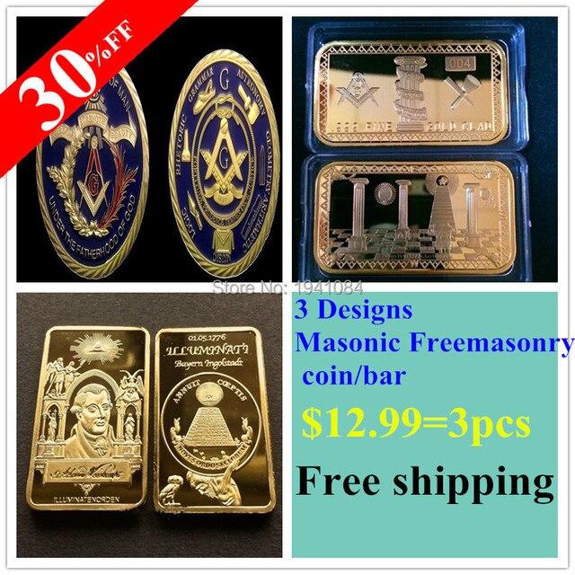 Wholesale Mix Order 24k Gold Clad Masonic Symbols Mason Freemason