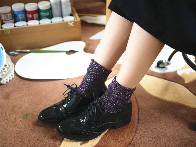 Shining Socks Warm Autumn//Winter Thickened Knitted Thermal Women/'s Fashio zzss
