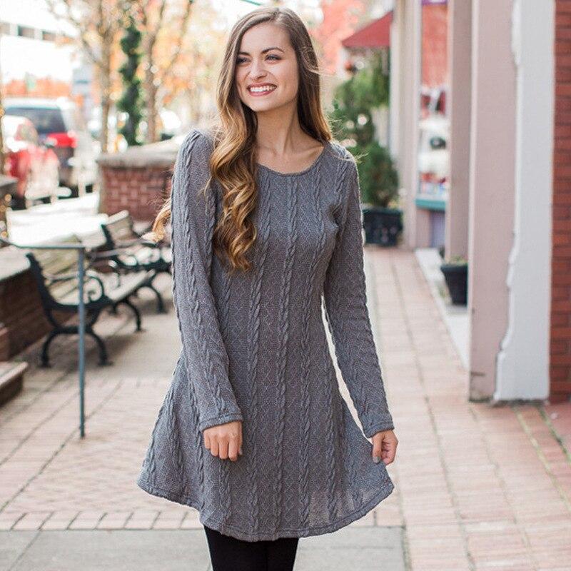 56c1f30dbf9 Laine tricoté coton femmes automne hiver pull robe à manches longues robe  Vestidos pull tricots robes rouge gris Beige marron dans Robes de Mode Femme  et ...