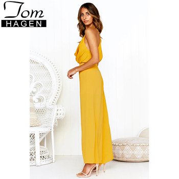 Summer 2019 Women Sleeveless Sexy Wide Leg Jumpsuit Female Deep V Neck Long Rompers Womens Jumpsuit Boho Party Clubwear Romper