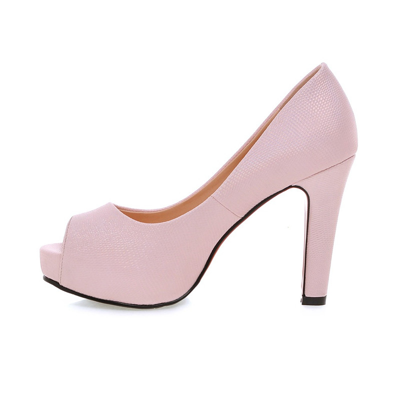 ФОТО Thick Crust Solid Thin Heels Shoes White Pink Black Sexy Peep Toe 10.5 cm Pumps Large Size Patent Leather Handmade Pumps Party