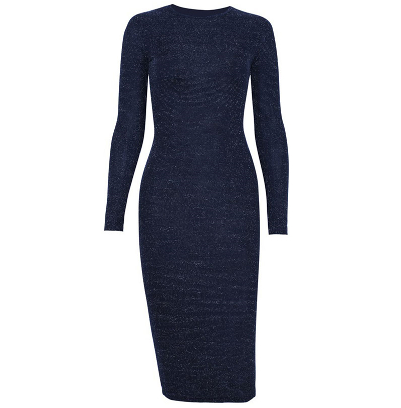 Shining Long Sleeve Midi Dress 9