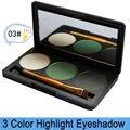 Envío gratis! Pro 3 color shimmer maquillaje brillo paleta de sombra de ojos con espejo y terminación doble brush, 3P-03 #