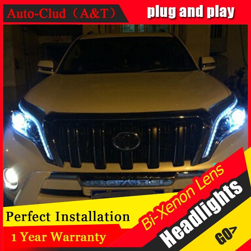 Auto Clud For 2014 2015 toyota prado xenon headlights car styling bi xenon lens toyota prado