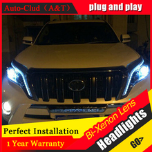 Auto Clud For 2014-2015 toyota prado xenon headlights car styling bi xenon lens toyota prado LED DRL head lamps xenon H7 light