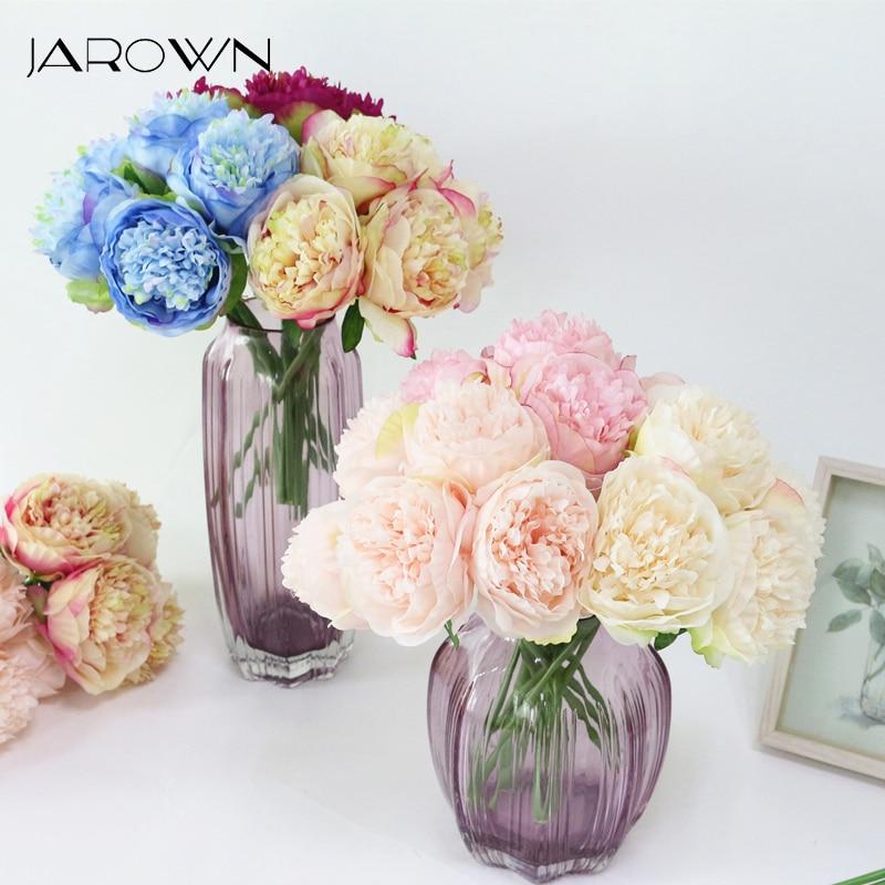Шелковые цветы, Букет пионов, искусственные цветы, Осенние яркие искусственные цветы, украшения для свадьбы