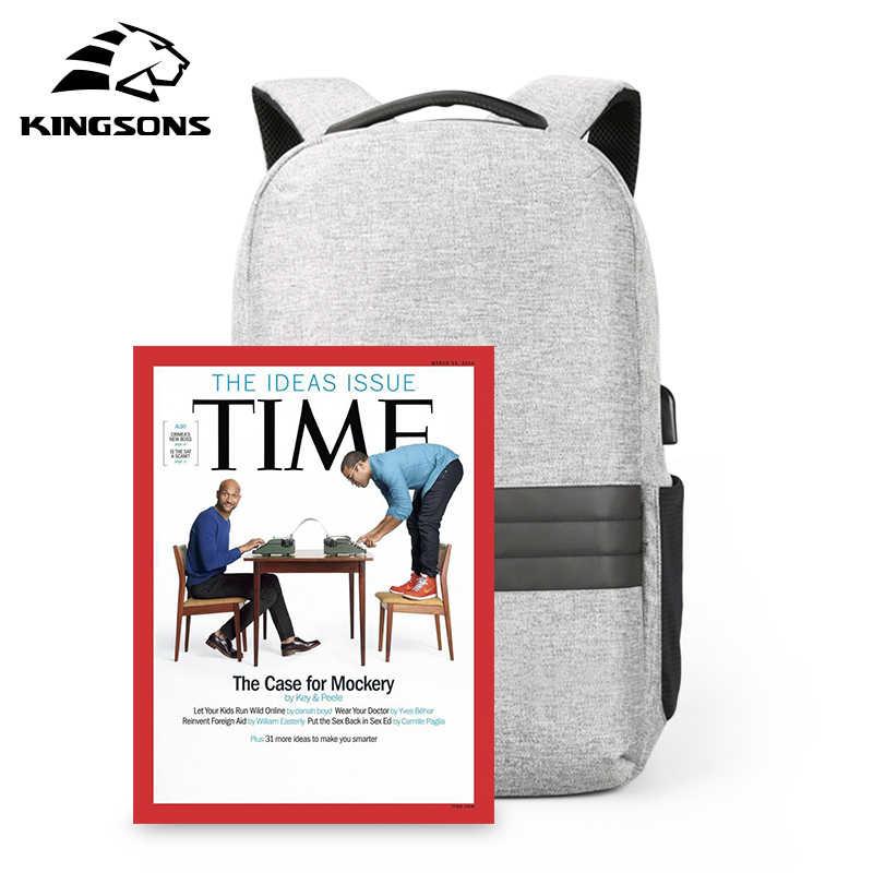Kingsons 15 นิ้วแล็ปท็อปกระเป๋าเป้สะพายหลัง USB CHARGING ป้องกันการโจรกรรมกระเป๋าเป้สะพายหลังชายกันน้ำโรงเรียนกระเป๋า Mochila