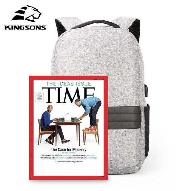 Kingsons 15 cal plecaki na laptopa USB do ładowania z zabezpieczeniem przeciw kradzieży plecak męski plecak podróżny wodoodporny tornister mężczyzna Mochila