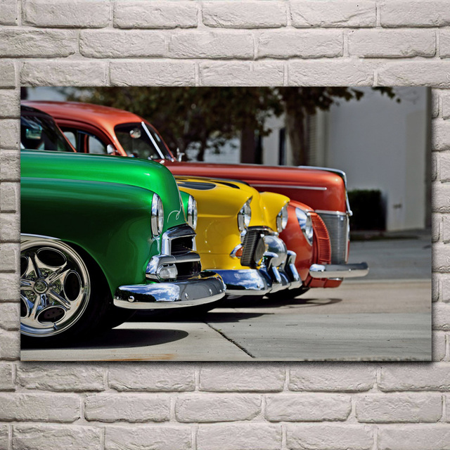 Retro Vintage Street Usa Car Living Room Home Wall Art Wood Frame Fabric Posters Prints