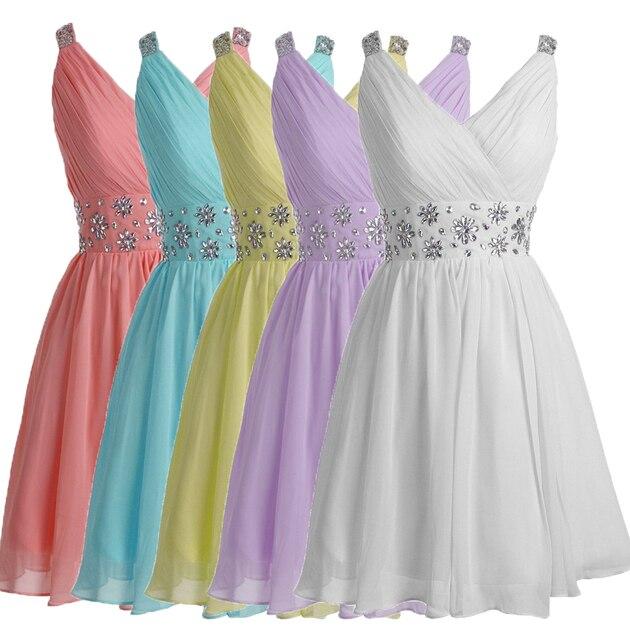 edc14d85ce2 Customized White Lavender Short Bridesmaid Dresses Plus size V-Neck Short  Homecoming Dress Beaded Waist Prom Dress For Party