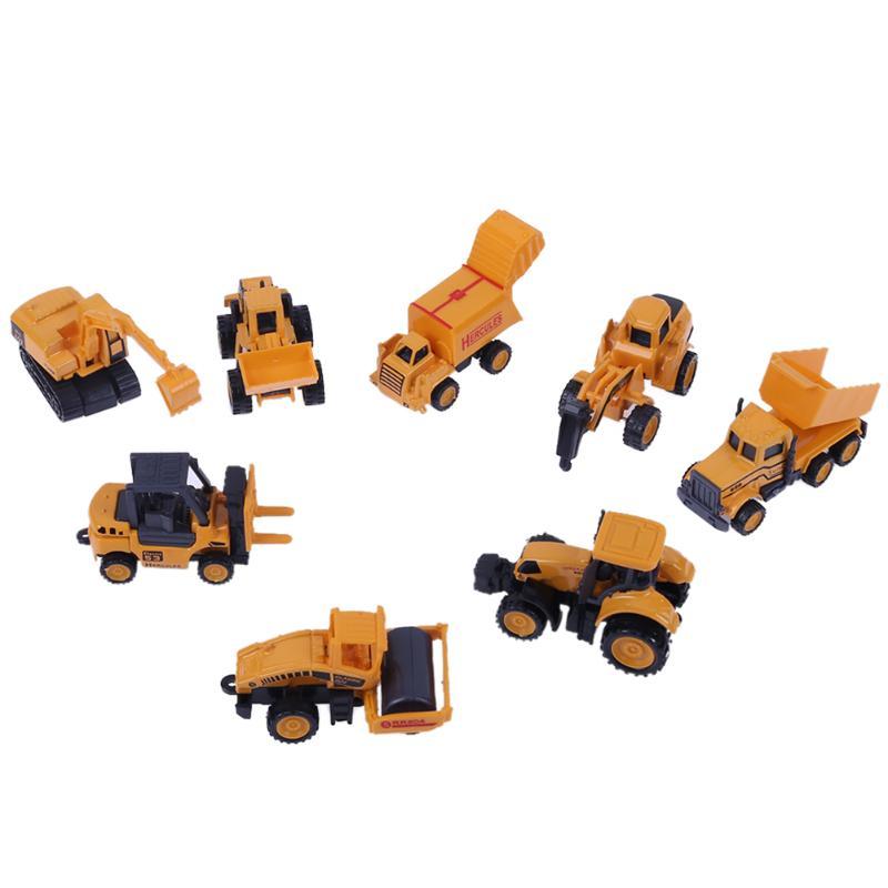 8pcs/lot 1:64 Mini Engineering Vehicles Car Model Toy Sand Truck Excavator Baby Kids Educational Toys Children Birthday Gift