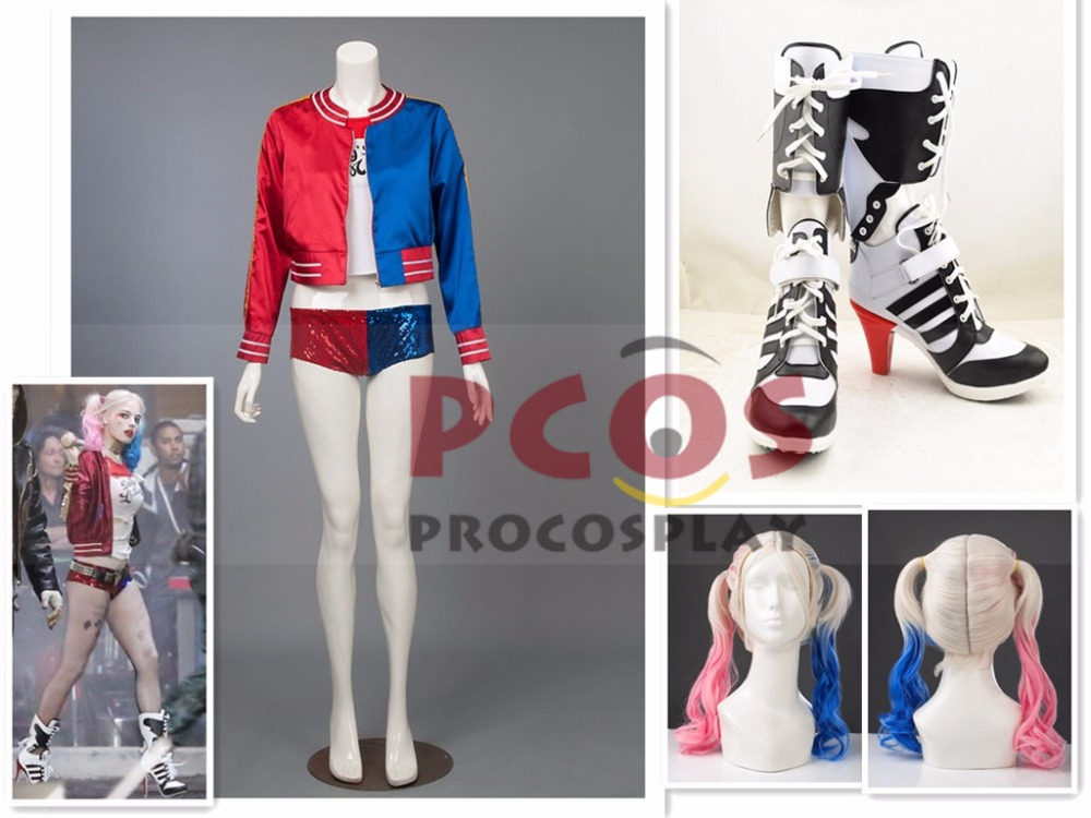 Fashion Set!! Suicide Squad Harley Quinn Cosplay Costume & Shoes & Wig