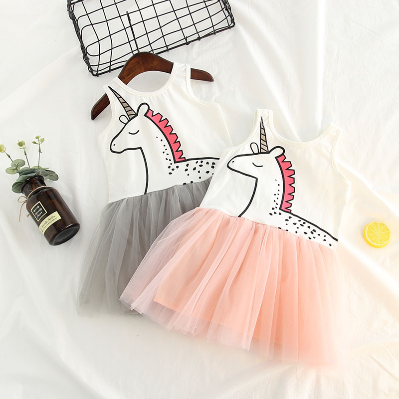 Ins ζεστό μωρό φόρεμα κορίτσι φόρεμα καλοκαίρι μονόκερος βαμβάκι ... dedeabb81e8