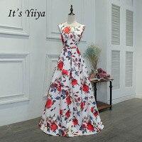 Es YiiYa Lazo Blanco Bola Vestido de Tafetán de La Flor de Impresión de La Vendimia Del O-cuello Partido Simple Vestido Formal hasta el Suelo Vestidos de Noche MYF074