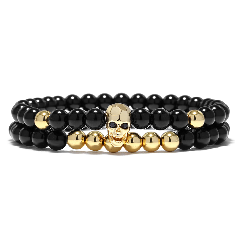 YUXI Steampunk Metal Smile Skull Bracelets Set Elastic Black Beads Chain Skeleton Men Bracelets Sets Male Hand Accessories 3