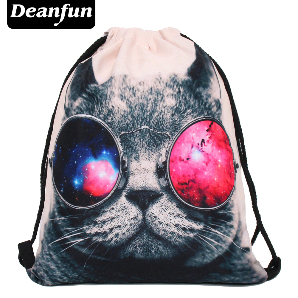 Deanfun women backpack printing bag for picnic mochila feminina harajuku drawstring bag mens backpacks sunglasses cat audioquest water xlr 0 5m